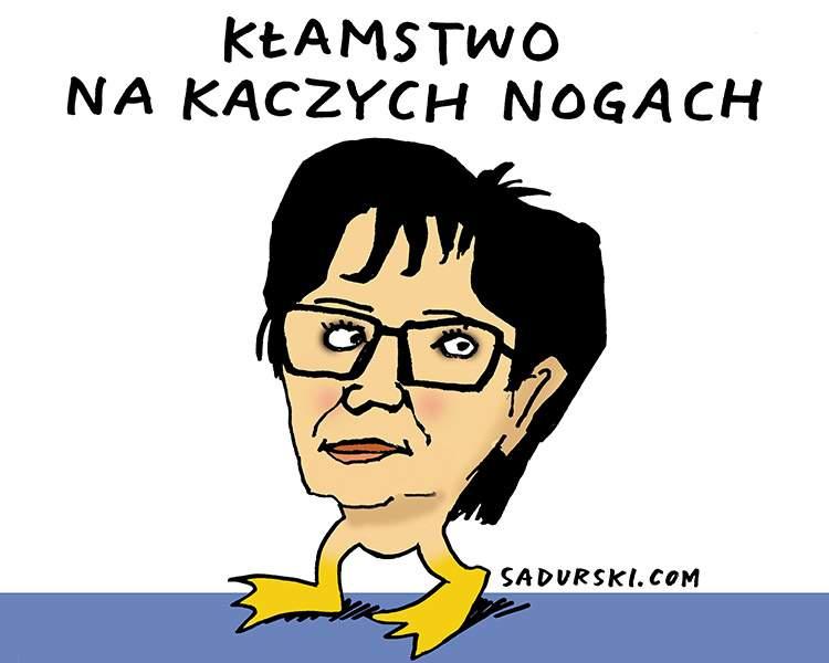 komentarz satyryczny rysunek satyra polityczna Elżbieta Witek głosowanie reasumpcja Sejm PiS
